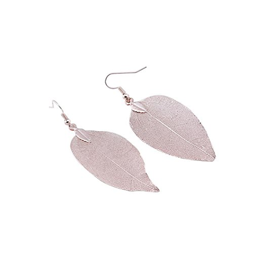 DEESEE(TM) 1Pair Women Long Natural Real Dipped Leaf Leaves Dangle Earrings Ethic Jewelry (Rose Gold)