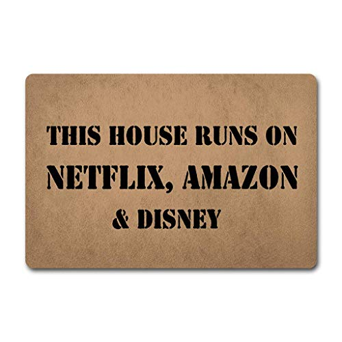 Needyounow Funny Words Saying This House Run On Netflix Amazon and Disney, Humor Polyester Welcome Door Mat Rug Indoor Mats Decor Rug for Home/Office/Bedroom Skiding-prooof,18