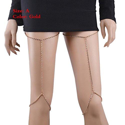 Molyveva New Design Fashion Women Sexy Leg Body Belly Waist Charm Chain, Bikini Beach Pendant Necklace (Gold)