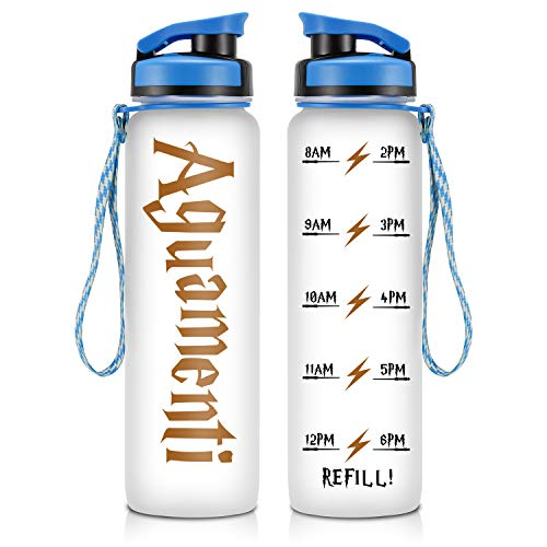 (LEADO 32oz Motivational Water Bottle with Hourly Time Tracker - Tritan Plastic BPA Free - Workout Sports Fitness Hours Marked Bottle with Flip Top Lid - Drink More Water Daily - Hydration Tracker )