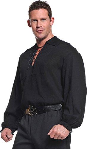 Renaissance Costumes Northern (Underwraps Costumes  Men's Renaissance Pirate Shirt, Black, One)