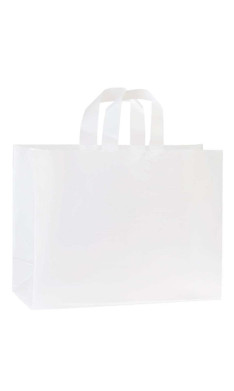 SSWBasics Large Clear Frosted Plastic Shopping Bags - 16'' x 6'' x 12'' - Case of 100