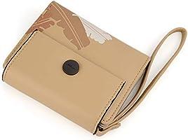 DcSpring Cartera Monedero Peque/ñas Piel Genuino Slim Portatarjetas Mini Cremallera con Ilavero para Mujer Hombre Amarillo
