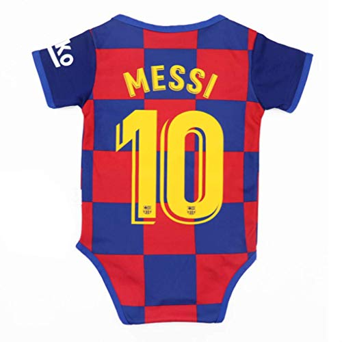 Football Club Home Soccer Baby Bodysuit Comfort Jumpsuit for 0-18 Months Infant and Toddler 2019-2020 Season (Barcelona #10 Messi, 0-9 Monthes Baby) (Toddler Barcelona Jersey)