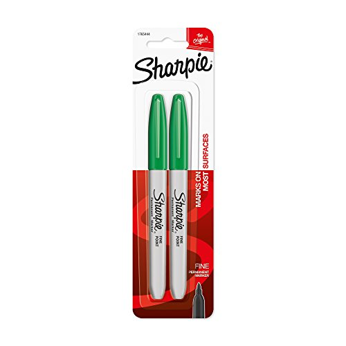 - Sharpie Permanent Markers, Fine Point, Green, 2-Pack (1765444)