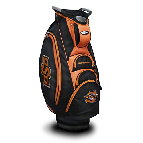 (Team Golf NCAA Oklahoma State Cowboys Victory Golf Cart Bag, 10-way Top with Integrated Dual Handle & External Putter Well, Cooler Pocket, Padded Strap, Umbrella Holder & Removable Rain Hood )