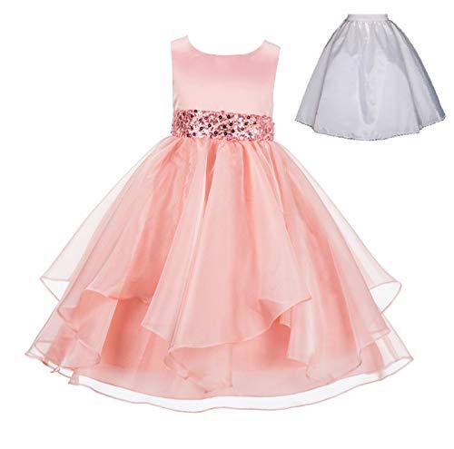 ekidsbridal Wedding Ruffles Organza Flower Girl Dress Sequin Toddler Pageant Free Petticoat 012s Peach ()