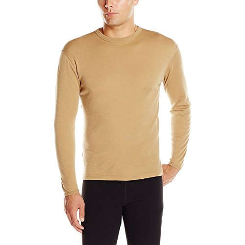 Mens Regular Merino Wool - Minus33 Merino Wool 718 Ticonderoga Men's Lightweight Crew Desert Sand Large