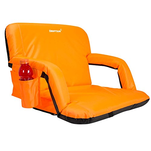 Driftsun Extra Wide Deluxe Reclining Stadium Seat, Bleacher Chair with Back Support, Folding Sport Chair Reclines Perfect for Bleachers Lawns and Backyards, Expanded Width, Orange ()