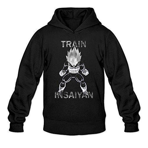 Men's Awesome Art Train Insaiyan Sketch Hoodie Black X-Large (Singlet Art)