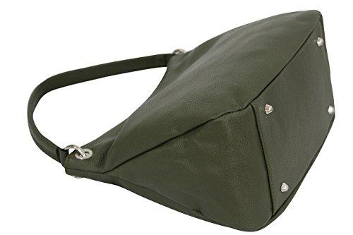 cuir main Sac Moda véritable Sac GL002 Ambra en Shopper vert olive à bandoulière wSXAqw4