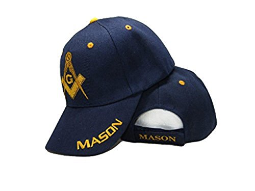 Blue And Gold Mason Masons Freemason Masonic Lodge Ball Cap 3D Embroidered Hat