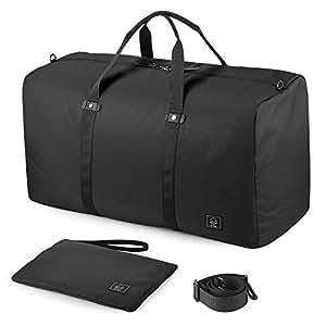 GAGAKU 80L Foldable Travel Duffel Bag Packable Lightweight Duffle Large Flight Cabin Bags for Travel - Black