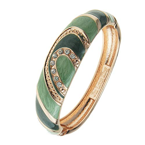 UJOY Indian Enamel Jewelry Gold Plated Filigree Bracelet Handmade Multi-Color Spring Oval Wide Cuff Bangle 88A26 Green