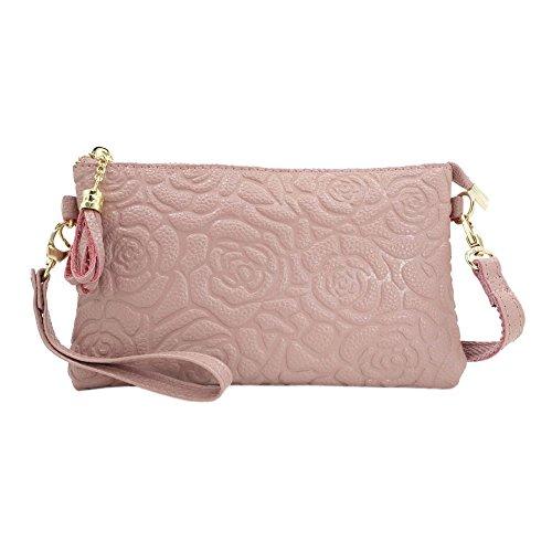 Sanxiner Leather Print Crossbody Purse Wristlet Wallet Clutch Ladies Wrist Bag (Pink)