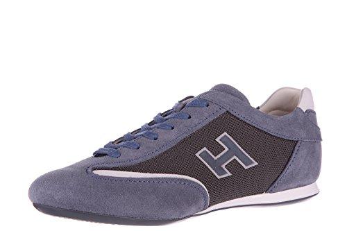 Hogan chaussures baskets sneakers homme en daim olympia slash h flock blu