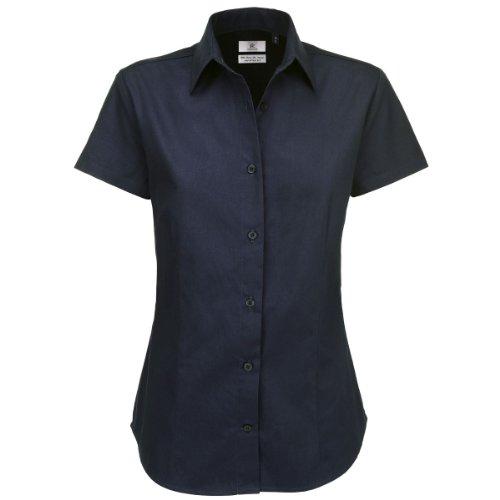 B & C Collection Sharp Damen Shirt Short Sleeve, Navy, XXXL