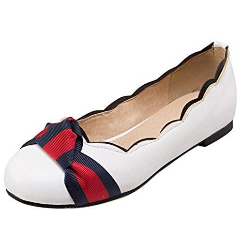 COOLCEPT Women Sweet Flat Pumps Slip On Closed Toe Shoes White UG9k9SGtx