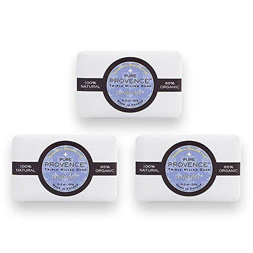 Pure Provence Natural and Organic Triple Milled French Lavender Soap | Organic Shea Butter | Luxury Full-Size Bars | 100% Vegetable Based | Relaxing | 5.3 oz (150g) Soaps (3 Bars)
