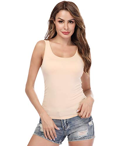 Cami Top Cotton - KIWI RATA Camisoles for Women with Built in Bra, Summer Sleeveless Shirt Casual, Comfortable Padded Bra Women cami for Yoga, Wide Straps Tank Top Beige XXL