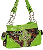 Lime Green Camo Western Buckle Cross Purse, Bags Central