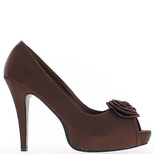 Grande open toe pompe taglia marrone raso tacco 13cm