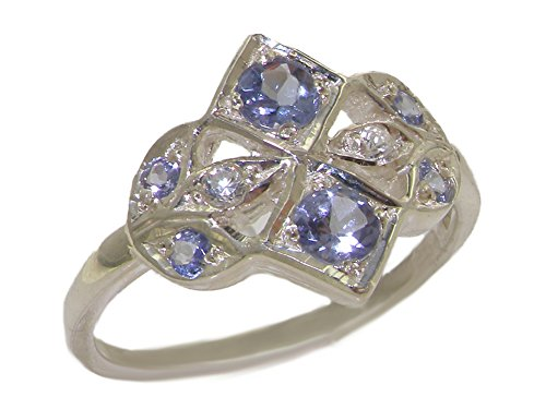 Tanzanite Diamond Cluster Ring (925 Sterling Silver Natural Tanzanite and Diamond Womens Cluster Ring - Sizes 4 to 12 Available)