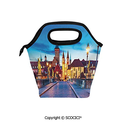 (Portable thickening insulation tape Lunch bag Colorful Sunset Evening View of Old Main Bridge in Historical Land Bavaria Germany for student cute girls mummy)