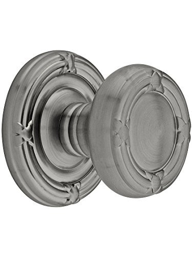 Ribbon And Reed Door Set With Round Brass Knobs Passage In Antique Pewter. Old Door Knobs And Hardware. by Emtek