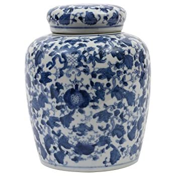 Amazon.com: Asian Oriental Chinese Ceramic Rice Jar Blue