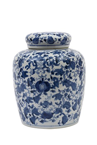 Creative Co-op Decorative Blue and White Ceramic Ginger Jar with Lid ()