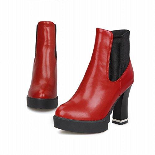 Carolbar Delle Donne Lucide Moda Bungee Piattaforma Popolare Alto Vestito Dal Tacco Grosso Stivali Rosso