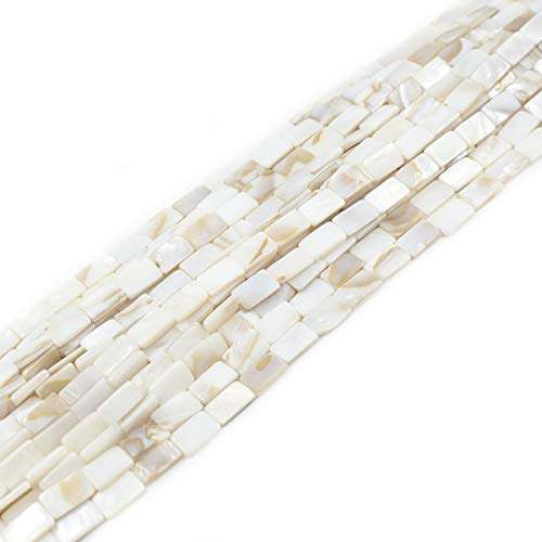(8x13mm Flat Rectangle White Sea Shell Beads Loose Gemstone Beads for Jewelry Making Strand 15 Inch (30pcs))