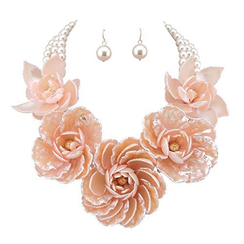 (Bocar Statement Big Pendant Pearl Flower Necklace Earrings Jewelry Set for Women (NK-10101-pink))