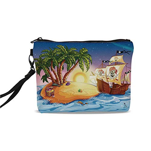 (Pirate Ship Simple Cosmetic Bag,Ghost Ship on Exotic Sea Near Treasure Island with Palm Trees and Open Chest for Women,9