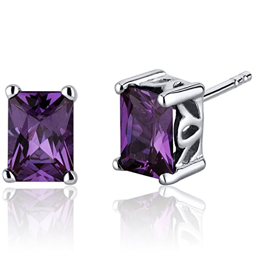 Radiant Cut 2.50 Carats Simulated Alexandrite Stud Earrings Sterling Silver