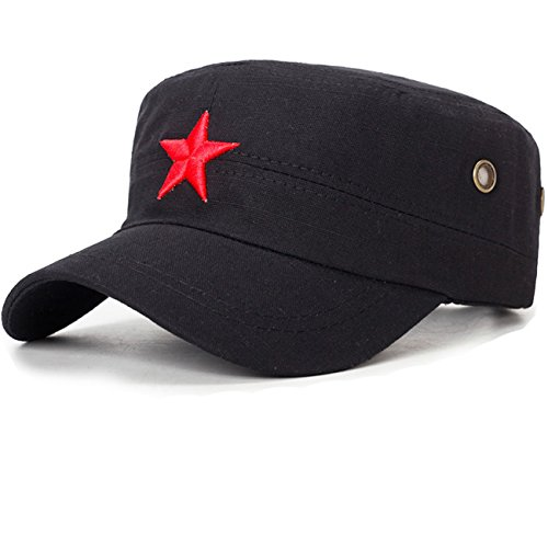 Vintage Style Military Fatigue (COOLSOME Vintage Fatigue Red Star Mao Army Military Hat (Military Black))
