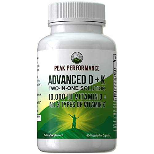 Advanced Vitamin D 10000 IU with All 3 Types of Vitamin K Capsules by Peak Performance. 10,000 IU Vitamin D3 and Vitamin K2, K1, MK-7 (MK7), MK4 Supplement. 60 Small and Easy to Swallow Pills 10000 Iu 100 Capsules