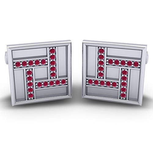 Azeera VYAJANA Cufflinks 14k White Gold with Ruby - Cufflinks Gemstone 14k