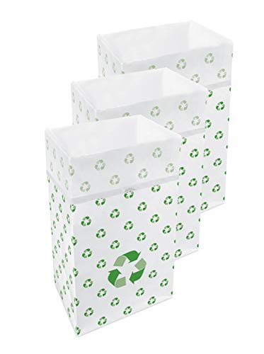 Clean Cubes 30 Gallon Disposable Trash Cans & Recycling Bins, 3 Pack (Recycle Pattern) (Boxes Recycle Cardboard)