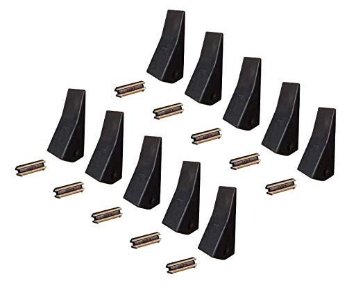 - 10 Backhoe/Skid / Mini Ex Bucket Teeth w/Pins - 23, 230, 230SP, D51750, TF23D