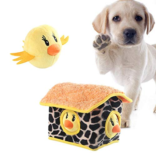 wouke Puppy Chew Toys, Pet Squeaky Plush Sound Toy Dog Hide and Seek Chicken Plush Sound Molar Toys