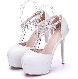 Damenschuhe Dünne Schuhe 14 cm High Heel Hochzeit Schuhe White Pearl Schuhe Wasserdicht Plattform, 37, Weiß 10 cm LEIT