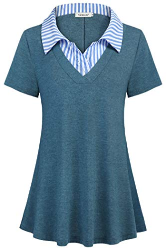Nandashe Business Casual Top for Women, Women's Fashion Turn Down Collar Shirttail Flare Baggy A-line Blouses for Office Ruched Front Career Multi Color Tartan Shirts Office T-Shirts Turquoise ()