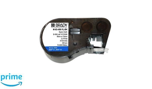1//2 Diameter For BMP51//BMP53 Printers Brady M-83-499-YL-BK Nylon Cloth B-499 Black on Yellow Label Maker Cartridge