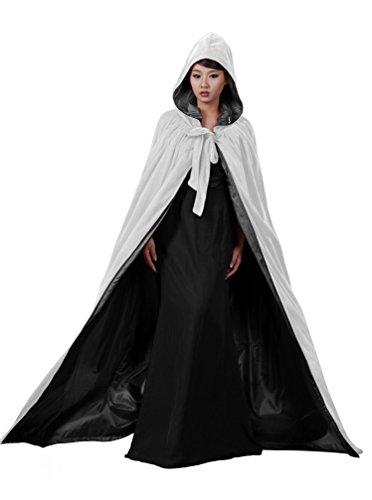 [ANGELWARDROBE Halloween Hood Cloak Wedding Cape White-Black-S] (Black And White Cape)
