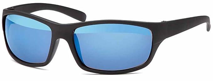 Polarisierte Sportbrille mit verspiegelten Gläsern UV400 Filter Sonnenbrille - Im Set mit Brillenbox und Mikrofasertuch (Blau verspiegelt) 4PfG5wHT