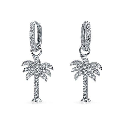 (Beach Cubic Zirconia Pave CZ Tropical Palm Tree Kpop Huggie Hoop Dangle Earrings For Women 925 Sterling Silver)
