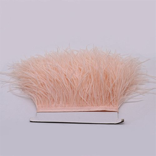 FQTANJU 2 Yards Soft & Natural Ostrich Feathers Fringe Trims Ribbon Used for Dress, Sewing, Craft clothing, lighting decoration, Clothing DIY, etc. (champagne)