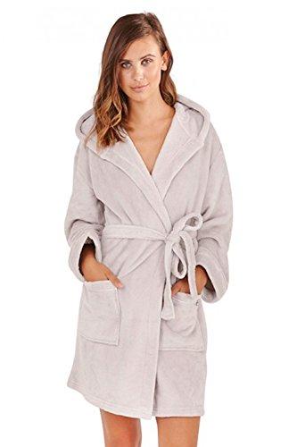 de Super ropa para forro Robes cálida Plateado Albornoz dormir de señoras capucha suave polar mujer con y dvqvgYc